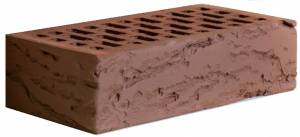 Кирпич керамический декоративный, полуторный, пустотелый, цвет темный шоколад, кора - Кирово-Чепецк